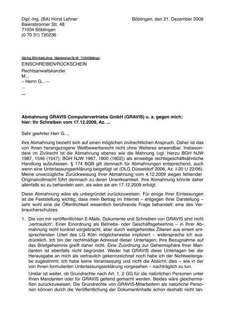 Meiner Antwort An Den Anwalt Horst Lehner