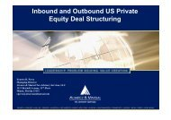 Inbound and Outbound US Private Equity Deal Structuring