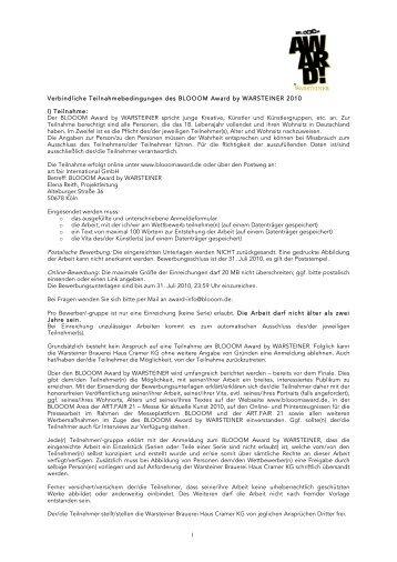 Teilnahmebedingungen 2010 BLOOOM Award by WARSTEINER