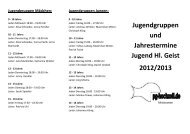 Jugendgruppen und Jahrestermine Jugend Hl. Geist 2012/2013