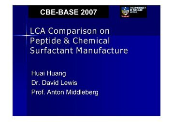 LCA Comparison on Peptide & Chemical Surfactant Manufacture