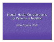 Mental Health Considerations for Patients in Isolation - UNMC