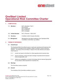 OneSteel Limited Operational Risk Committee Charter