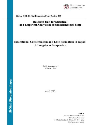 Educational Credentialism and Elite Formation in Japan