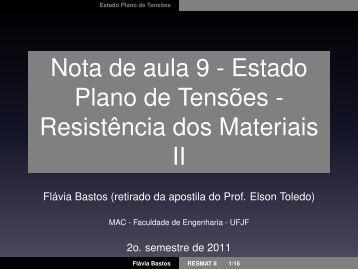 Nota de aula 9 - Estado Plano de Tensões - Resistência dos ...