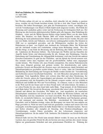 Brief aus Palästina, Dr. Sumaya Farhat-Naser 14. April 2005 Liebe ...