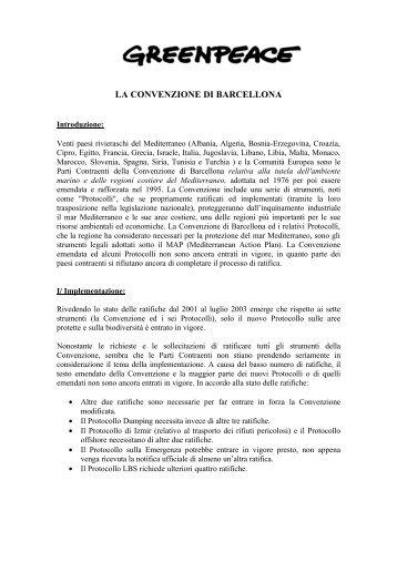 LA CONVENZIONE DI BARCELLONA - Greenpeace Italia