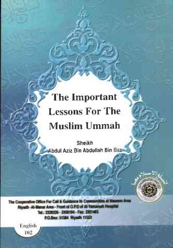 The Important Lessons For The Muslim Ummah - Islamicbook.ws