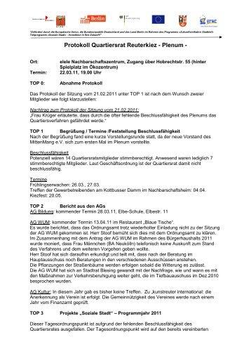 Protokoll Quartiersrat März 2011 - Reuter Quartier