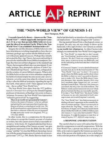 Non-World View - Apologetics Press