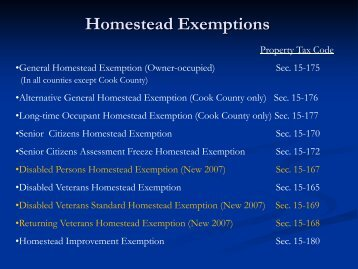 Information on Homestead Exemptions - St. Clair County