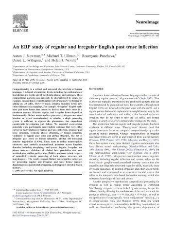 An ERP study of regular and irregular English past tense inflection
