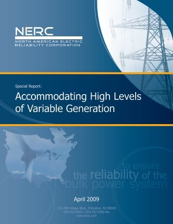 Accommodating High Levels of Variable Generation - NERC