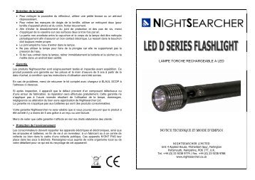 lampe torche rechargeable a led notice ... - Nightsearcher Ltd