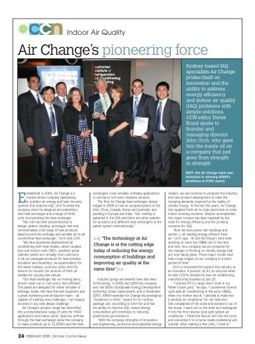 Indoor Air Quality Air Change's Pioneering Force