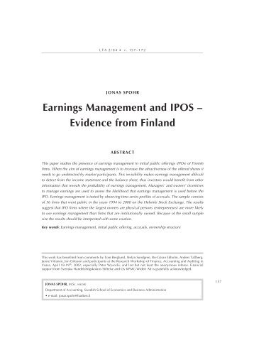 Earnings Management and IPOS – Evidence from Finland - LTA
