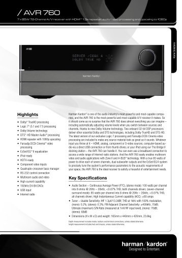 Harman Kardon AVR 760- Manual - Sound Group Holdings