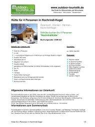 Hütte für 4 Personen in Hochrindl-Kegel - Outdoor-Touristik