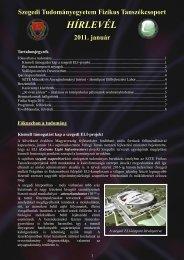 2011. január - Fizikus Tanszékcsoport - Szegedi Tudományegyetem