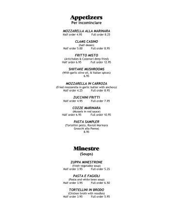 Printable Menu - Tutto Bene Italian Restaurant Bar & Grill