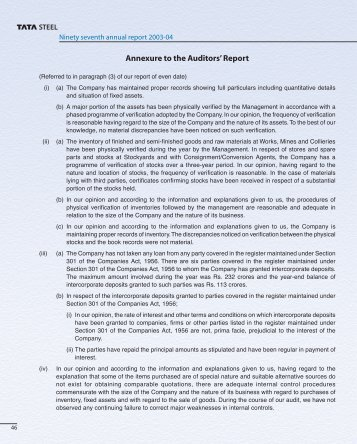 Annexure to the Auditors' Report - Tata Steel
