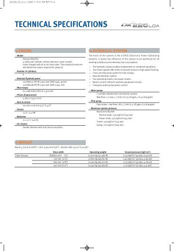 TECHNICAL SPECIFICATIONS - Lectura SPECS
