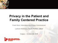 Privacy in the Patient and Family Centered Practice - Office of the ...