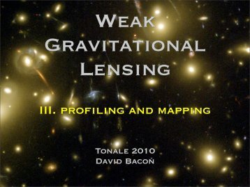 III. profiling and mapping - The Dark Universe