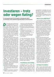 Investieren – trotz oder wegen Rating?