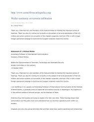 http://www.centerforsecuritypolicy.org Waller testimony on terrorist ...