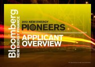 APPLICANT OVERVIEW - Bloomberg New Energy Finance