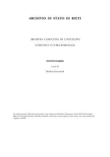 ARCHIVIO DI STATO DI RIETI - Istituto Centrale per gli Archivi