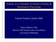 Autism As A Disorder of Neural Circuitry & Information Processing