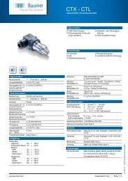 CTX-CTL Industrieller Druckmessumformer für OEM ... - Baumer