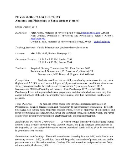 Physiological Science 173 Ucla