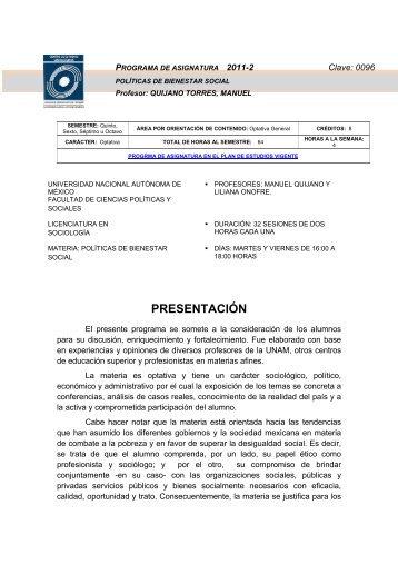 olíticas del Bienestar Social - Facultad de Ciencias Políticas y ...