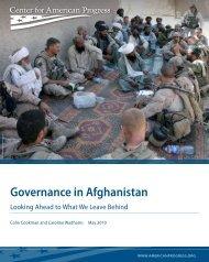 Governance in Afghanistan - Center for American Progress