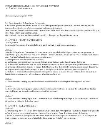 CONVENTION RELATIVE À LOI APPLICABLE AU TRUST ET À SA ...
