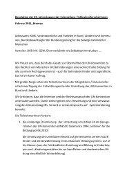 Resolution IFO-Tagung 02.2011 - EINE Schule für ALLE