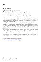Organisation, Macht, Subjekt - Zur Genealogie ... - transcript Verlag