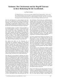 Kolumne: Das Christentum und der Begriff Toleranz in ihrer ...
