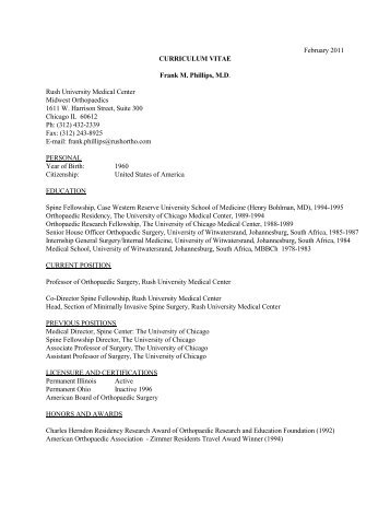 February 2011 CURRICULUM VITAE Frank M. Phillips, M.D. Rush ...