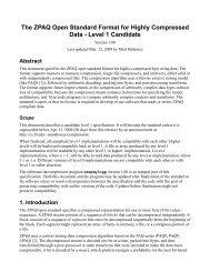 ZPAQ standard - Matt Mahoney's Home Page