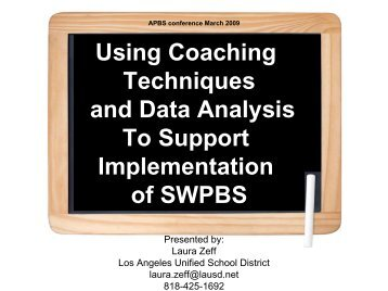 Using Coaching Techniques and Data Analysis To Support ... - PBIS