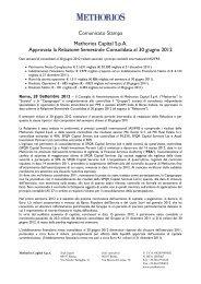 Comunicato Stampa 28 settembre 2012 - Methorios Capital
