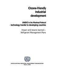 Ozone-friendly Industrial development UNIDO in the Montreal Protocol