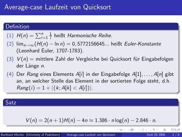 Average-case Laufzeit von Quicksort