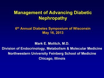 Management of Advancing Diabetic Nephropathy - Medical College ...