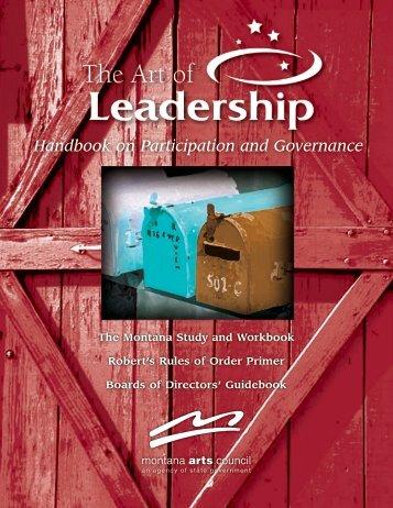 The Art of Leadership ePublication - Montana Arts Council