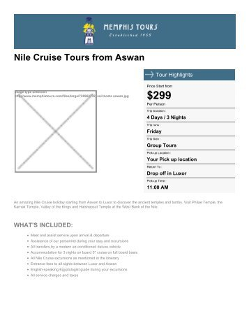 Nile Cruise from Aswan - Memphis Tours Egypt